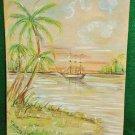 Hawaii Painting Schooner Bay Vintage Antique Original Schooner T de Muth Framed