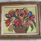 Needlepoint Vintage Huge Framed Basket Tulips Flowers Fanciful Yellow Background