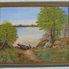 Vintage Original Painting Boat Lake Landscape Plein Air Marine Zehnder Framed
