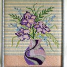 Irises Vintage Still Life Impressionist Mixed Stitch Needlework Pastel Modernist
