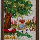 Vintage Needlework Childhood Nostalgia Geese Spaniel Dog Pig Tail Girl Swing
