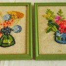 Vintage Mid Century Modern Modernist Pair Needlework Framed Flower Bouquet Bold
