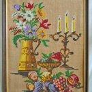Vintage Needlepoint Still Life Fruit Flowers Candelabra Regency Decor  Framed