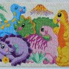 Vintage Needlepoint Dinosaurs Pink Yellow Blue Purple Green Volcano Fantasy Kids