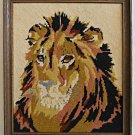 Vintage Needlepoint Lion Male Close Massive Head Portait Animal Framed Decor