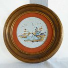 Chinese Modernist Vintage Handpainted Round Tile Fisherman Painting Gilded Frame