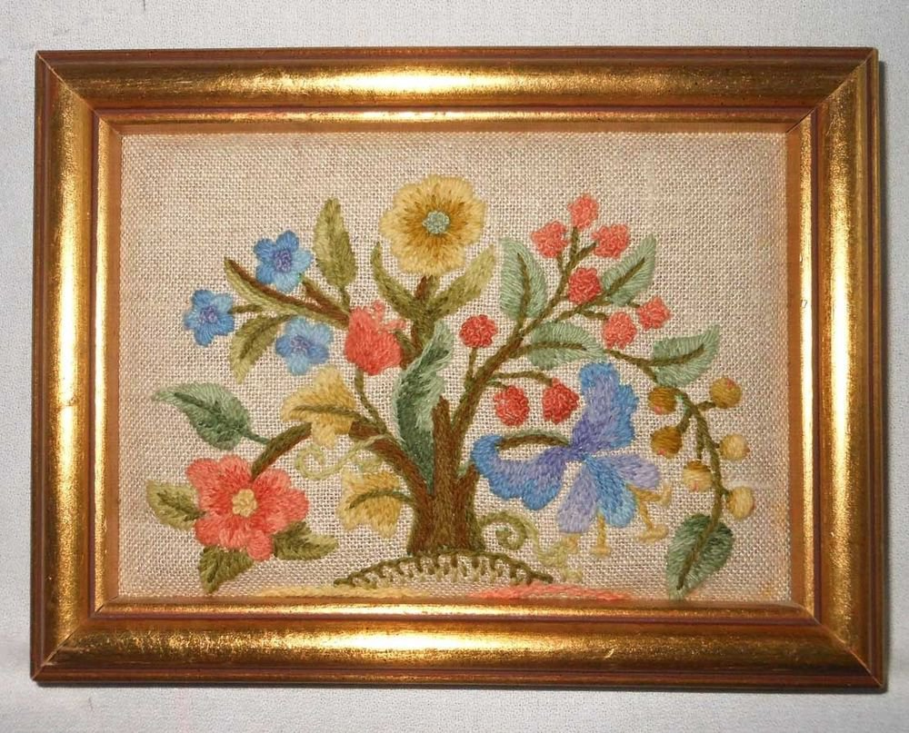 Needlework Tree of Flowers Vintage Small Scale Jewel Like Gilded Wood Frame