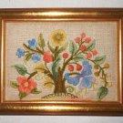 Needlework Tree of Flowers Vintage Small Scale Jewel Like Gilded Wood Frame