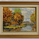 Needlepoint Vintage Country Landscape Fall Foliage Brook Bridge Farm House Frame