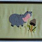 Vintage Needlework Baby Hippo Hippopotamus Animal Nursery Framed Decor Mushroom