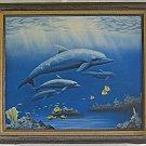 Vintage Painting Aquarium Dolphins Angelfish Marine Fish Blues 1992 Shones 105