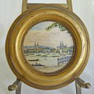 Antique Miniature Painting Round Bern Switzerland Sailboat City Panorama Vintage