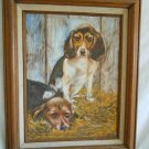 Beagles Vintage Original Oil Painting Sad Dogs Hounds Mid Century Roberts Framed