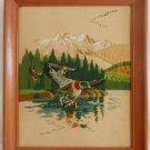 Ornithology Vintage Needlework Ducks Mountain Lake Colorado Western Landscape