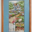 Vintage Needlepoint Victorian Country House Lush Garden Flowers Panel Framed