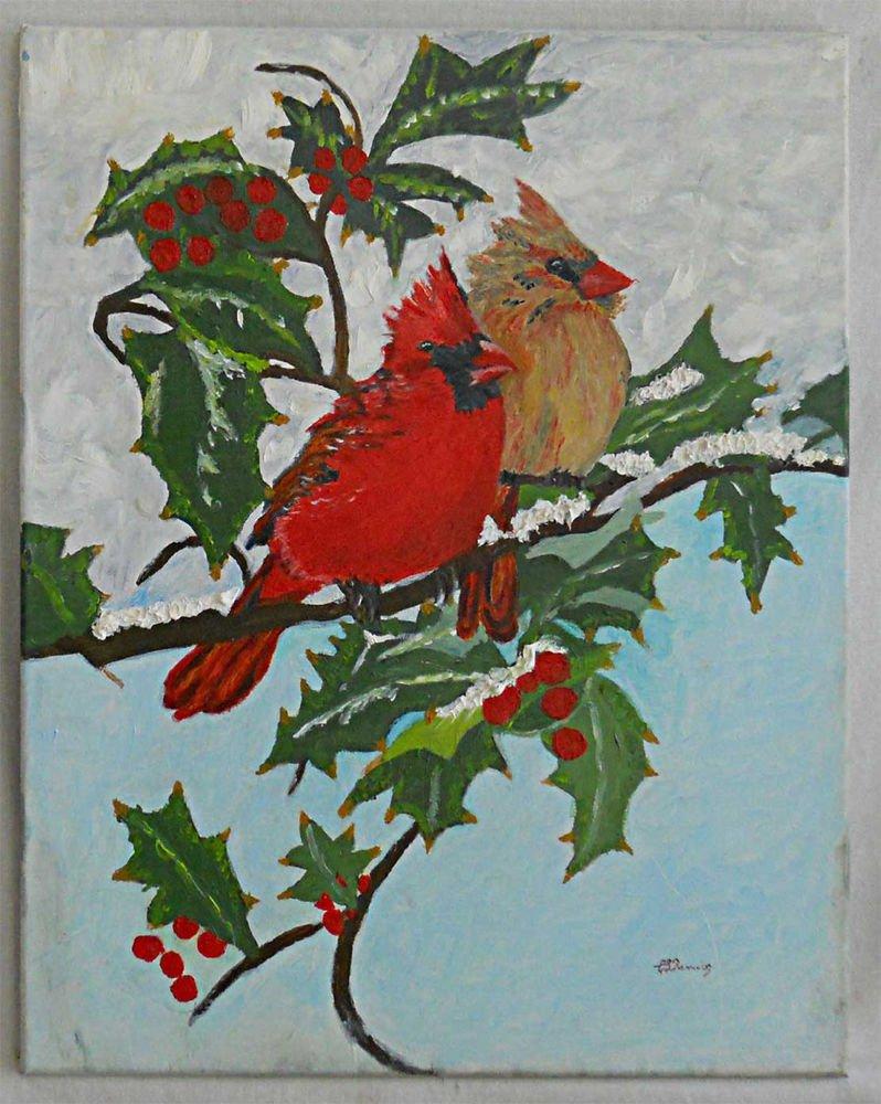 Ornithology Vintage Painting Cardinal Red Bird Poinsettia Christmas CL Ramirez