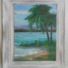 Modernist Hawaii Original Oil Painting Mary Hansberger Tropical Lagoon Landscape