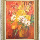 Vintage Oil Painting Holmes Daniels Impressionist Sunflowers Impasto Fancy Frame