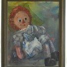 Raggedy Ann Doll Antique Vintage Original Painting Framed          Fredy