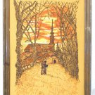 Vintage Needlework Church Monk Pilgrim Sunset Fiery Orange Fall Framed Landscape