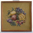 Vintage Needlepoint Still Life Fruits Banana Grapes Apples Muted Somber Framed