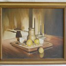 Vintage Painting  Shadow Play Still Life Lemons Turkish Coffee Pot Tepperman