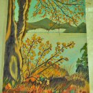 Vintage Rocky Mountain Colorado Western Fall Foliage Oil Painting Domanica