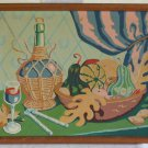 Vintage Painting by Number Still Life Chianti Wine Nuts Tuscany Culinary Moderne