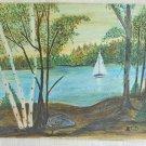 Folk Art Painting Marine Sail Boat Lake Vintage A.C.D Landscape Birch Naive