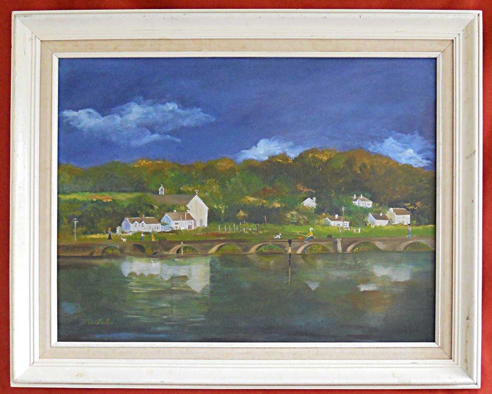 Machiko Vintage Folk Art Painting Naive Village Landscape Fishing Mountain Dogs