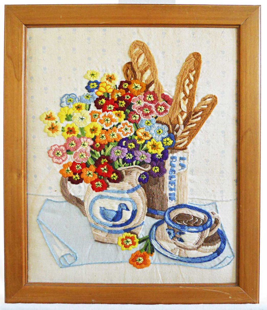 Vintage Needlework French Bread Breakfast Cafe au Lait Bagette Still Life Framed