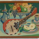 Vintage Painting by Number Modernist Still Life Mandolin Fruits Coffee Pot Food