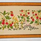 Vintage Antique Velvet Frame Panel Crewel Embroidery Needlework Strawberry Field
