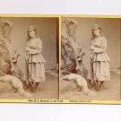 Stereoview MRS Maxwell in the Field Westerner Taxidermy Rifle Gun Fox 1976 Rare