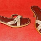 Donald J Pliner Mules Sandals Sculpted Heel Strappy Croc Effect Nude  Leather