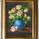 Pink Roses Blue Vase Still Life Original Oil Vintage Painting 93 Medina Framed