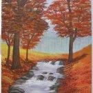 Colorado Vintage Painting  Orange Fall Foliage Waterfall Landscape Naive Ryan