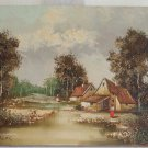 Finland Vintage Original Oil Painting Country Landscape Farm Signed Auer Finnish