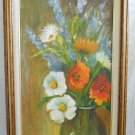 Modernist Oil Painting Country Flowers French Provence Framed Vintage Panel