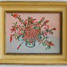 Vintage Painting Moderist Original Tiny Lush Roses Impasto Martha Martinez Frame