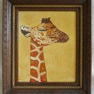 Vintage Original Painting Baby Giraffe Sleeping Carved Gilded Fancy Wood Frame
