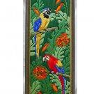 Needlework Macaw Parrots Vintage Flower Jungle Ornithology Framed Panel Tropical
