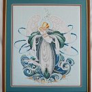 Vintage Needlepoint Winged Angel Baby Dove Huge Framed Nursery Decor Moderne