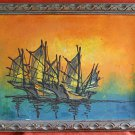 Vintage Original Painting Marine Sailing Ship Seascape Sunset Carved Frame Bell