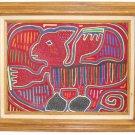 Mola Mythical Dog Vintage Framed Huge Animal Panama Kuna Folk