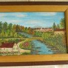 Michigan Beautiful River Original Oil Painting Edmond Hontans Folk Art 1972