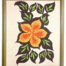 Needlepoint Vintage Modernist  Hibiscus Scene Tropical Flower Hawaii Tiki Framed