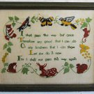 Vintage Needlework Sampler 1970 Bird Butterfly Deer Rabbit Owl Squirrel Framed