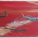 Vintage Painting Florida Keys Sunset Back Country Tarpon Fishing 1997 Andrushka
