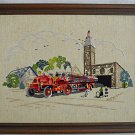 Vintage Needlework Firehouse Fire Truck Dalmatian Dog 19 AVFD 25 Country Flag